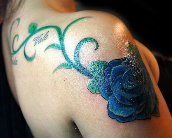 Blue Rose Tattoo by Nasa at Body Language Tattoo NYC  #flowertattoo #tattoo #cutetattoo #tattoosforgirls #bodyart