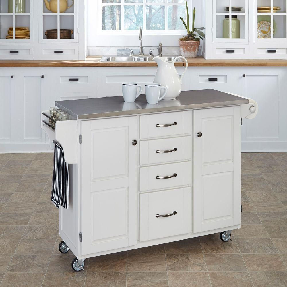 Homestyles Create A Cart White Kitchen Cart With Stainless Top 9100 1022 The Home Depot Portable Kitchen Island Kitchen Cart White Kitchen Cart