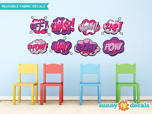 Are your kids obsessed with superheroes? They will love our superhero fabric wall decals. Our set of 8 word bursts come in two different size options and include BIFF, SMASH, WHAM, ZAP, KAPOW, BAM, BOOM, and POW. The decals are made from a high quality fabric material that is reusable and repositionable.