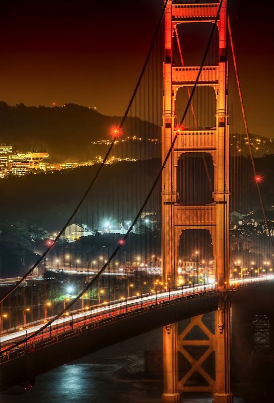 The Golden Gate at night...  - photo from #treyratcliff at http://www.StuckInCustoms.com - all images Creative Commons Noncommercial