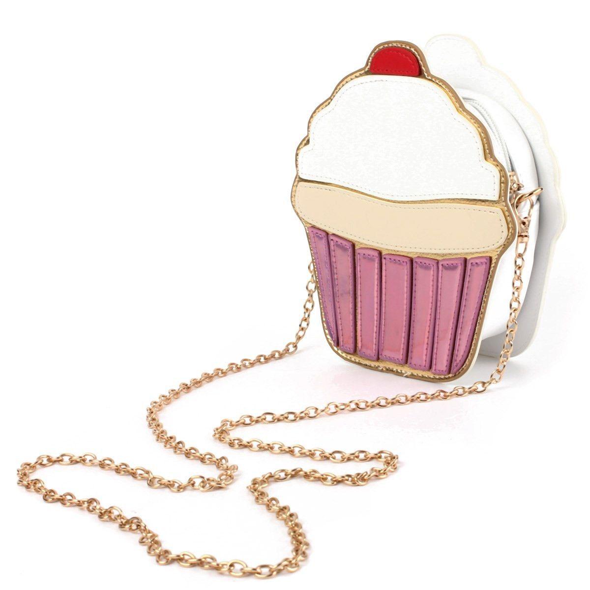 83afe964e43fd Chain Clutch Crossbody Bag Lady Shoulder Bag Girl Cupcake Small Cute Purse  Mini Cream Bag Cake Pattern Design Fashion Style
