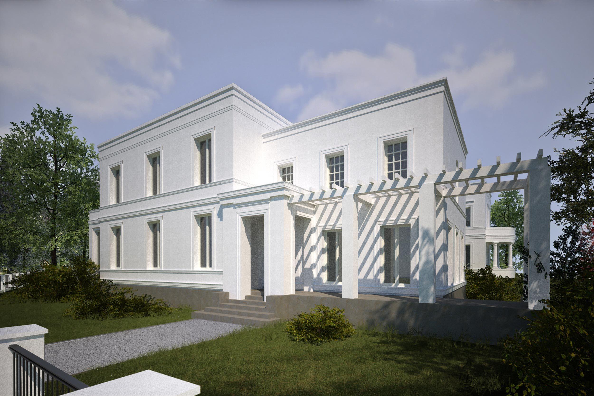 Klassische Villa Neubau säulenportal und pergola der zweigeschossigen villa | complete