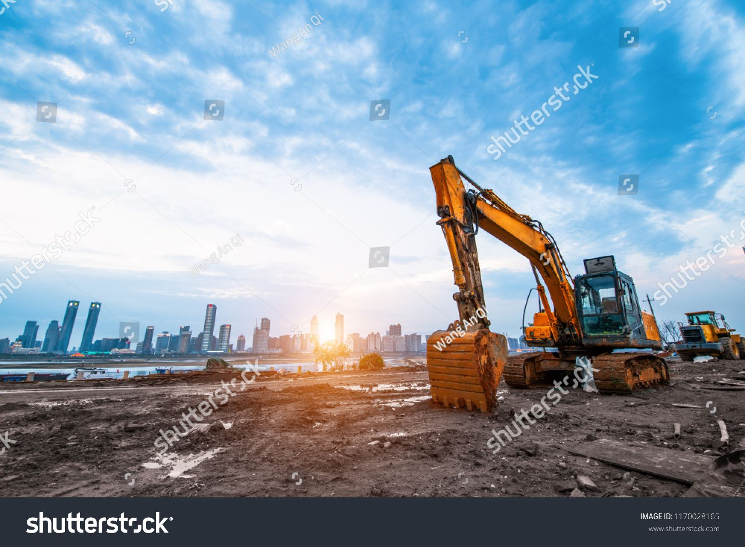 Excavator In Construction Site On Sunset Sky Background Sponsored Ad Site Construction Excavator Background Sunset Sky Construction Site Soil Mechanics