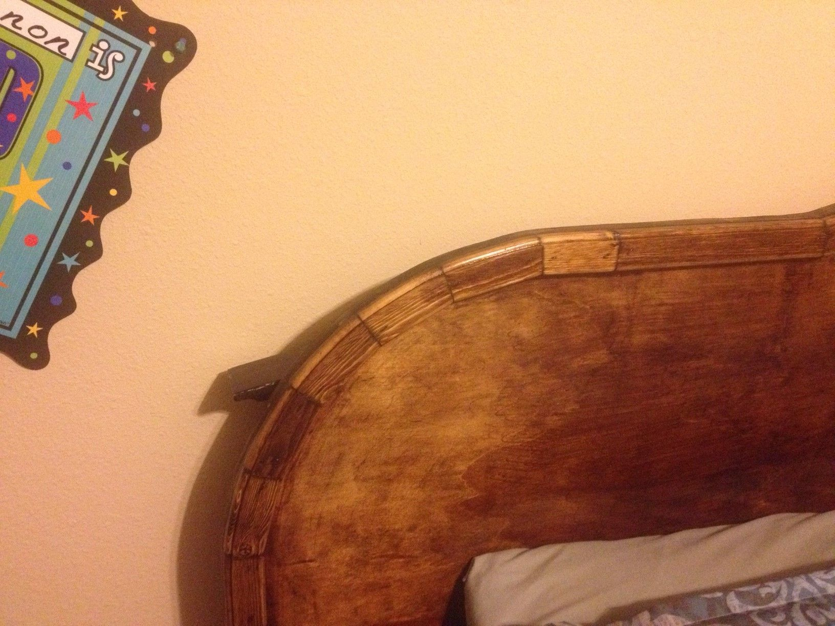Close up of the King Size headboard to show the detail of the curved trim.