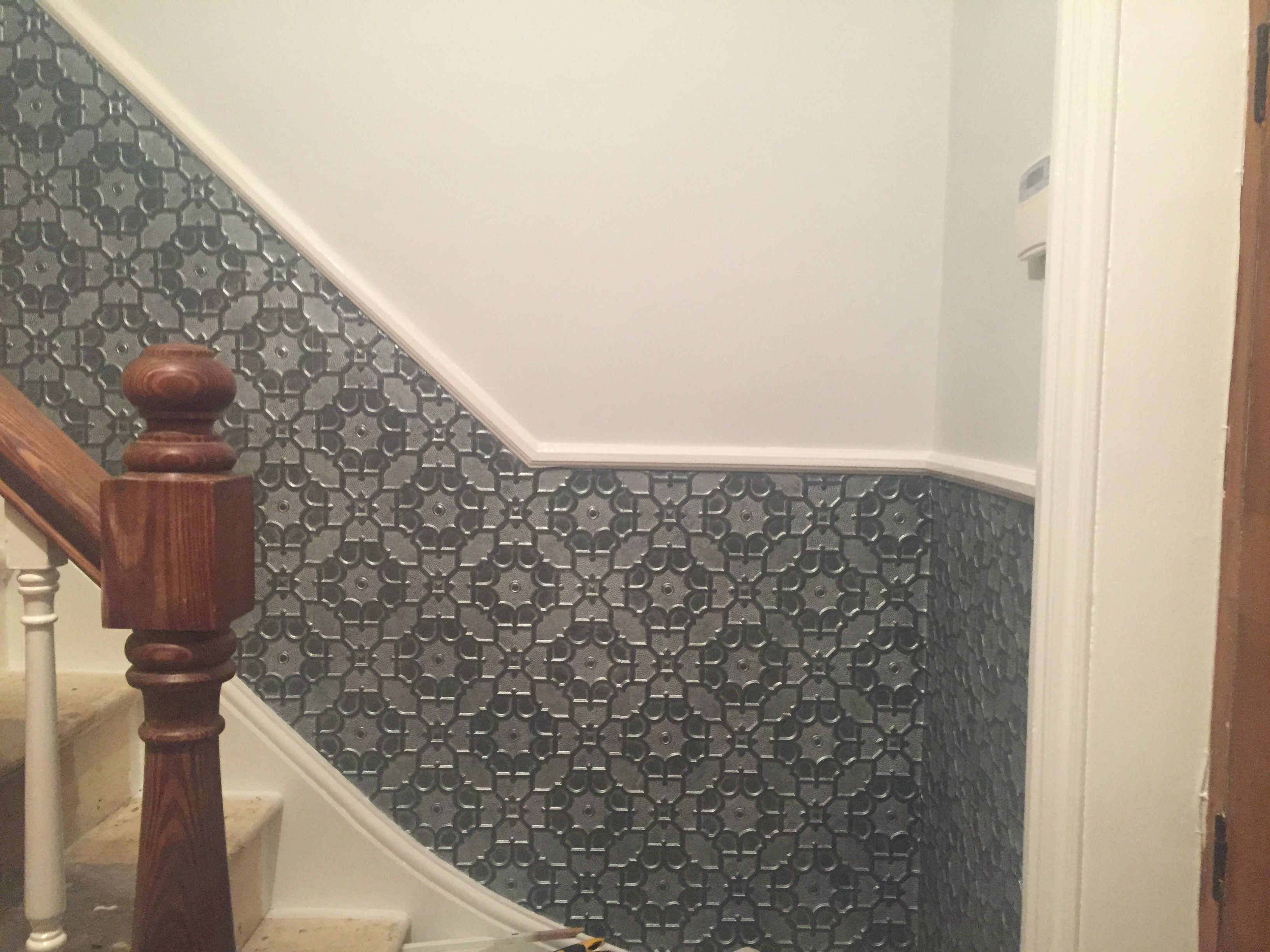 Lincrusta with a grey and silver finish finally up in the hallway.