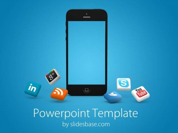 powerpoint template with black iphone on a blue background good for