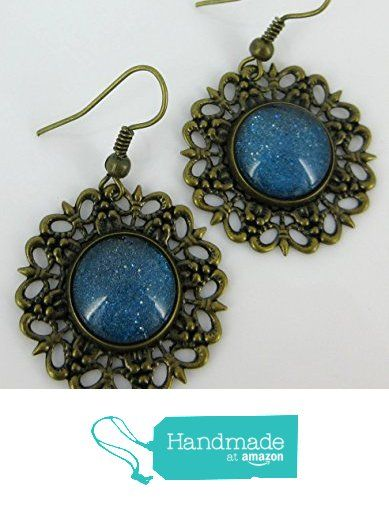 Antiqued Gold-tone Jesus Heart Flower Print Glass Stud Earrings 12mm