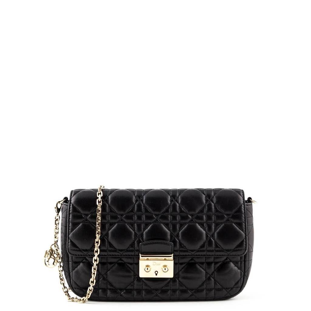 Dior Black Cannage Lambskin Miss Dior Promenade Pouch Bag Love That Bag Preowned Authentic Designer Handbags Miss Dior Bag Handbag Bags