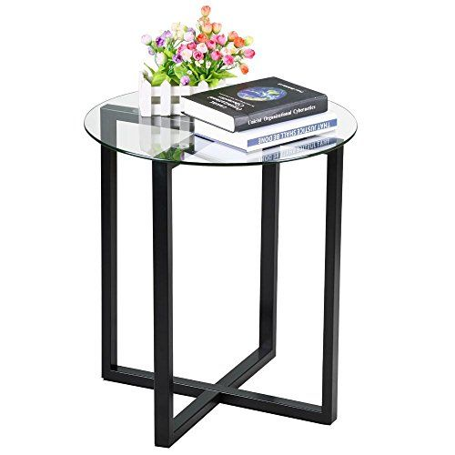 Best Yaheetech Small Round Glass Coffee End Table Metal Legs 400 x 300
