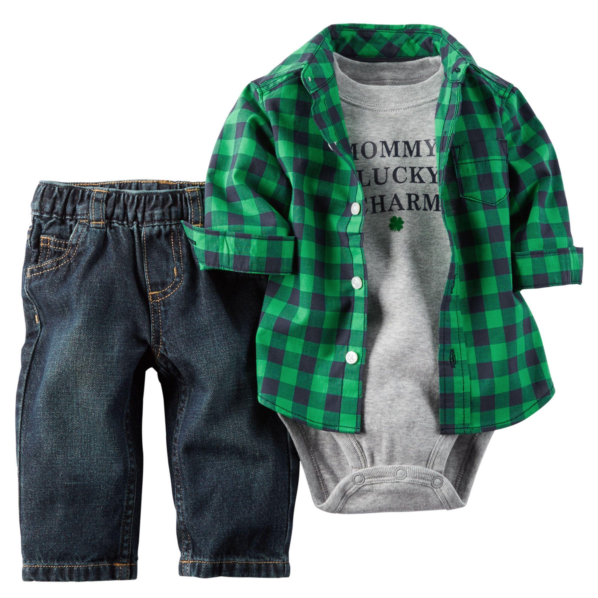ღ¸.•❤ ƁҽႦҽ ღ .¸¸.•*¨*• Baby Boy 3-Piece St. Patrick's Day Bodysuit & Pant Set  Baby's first St. Patrick's Day is cute and comfy with this coordinating bodysuit, button-front shirt and denim set.