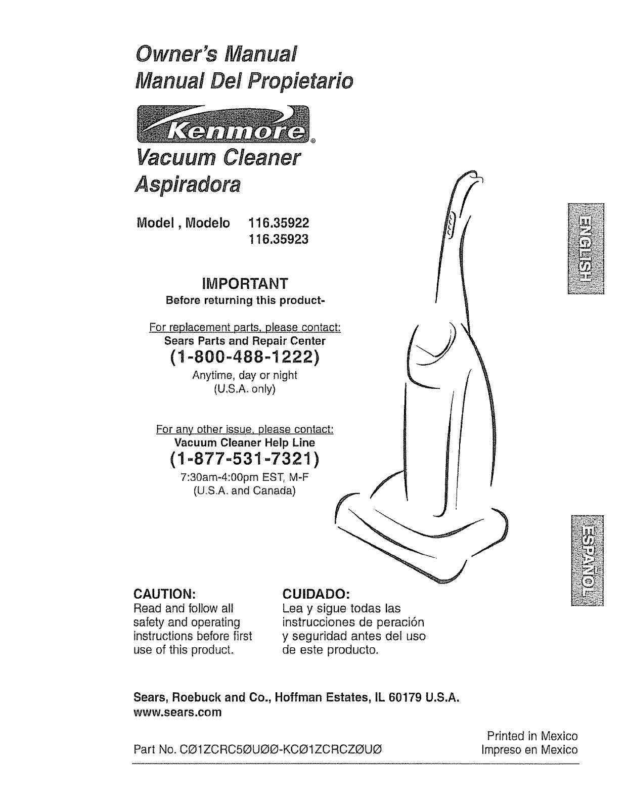 kenmore vacuum cleaner 116 35922 user s guide manualsonline com rh pinterest com kenmore upright vacuum cleaner owner's manual kenmore upright vacuum cleaner owner's manual