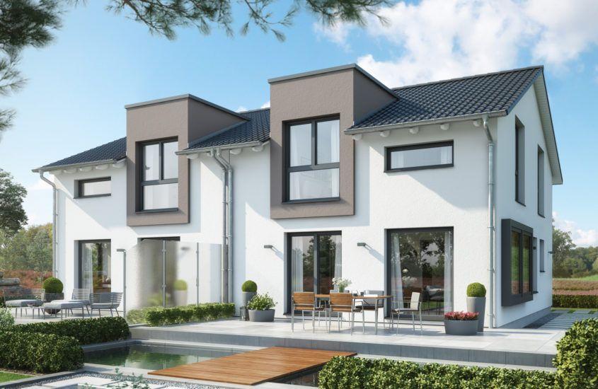 Doppelhaus modern mit Satteldach, 4 Zimmer Grundriss, 120