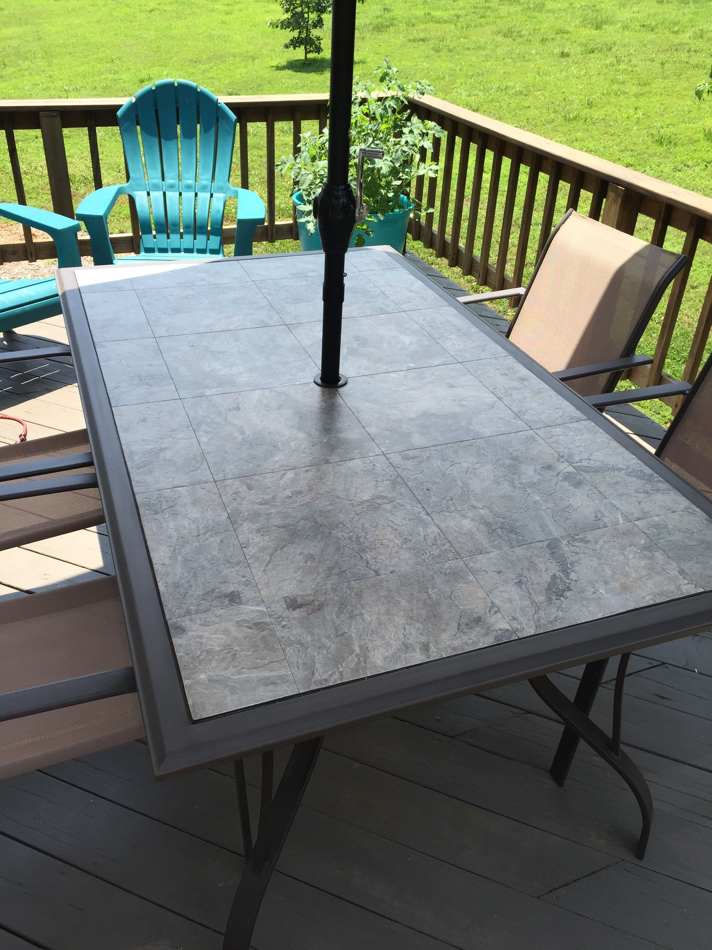 Exceptionnel The Glass Table Top Shattered In 1,000 Pieces When The Breeze Caught The  Umbrella! Replaced It With A Plywood Top And Armstrong Self Stick Vinyl  Tile.
