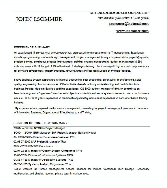 entry level project Manager Resume for SAP Word , Entry Level ...