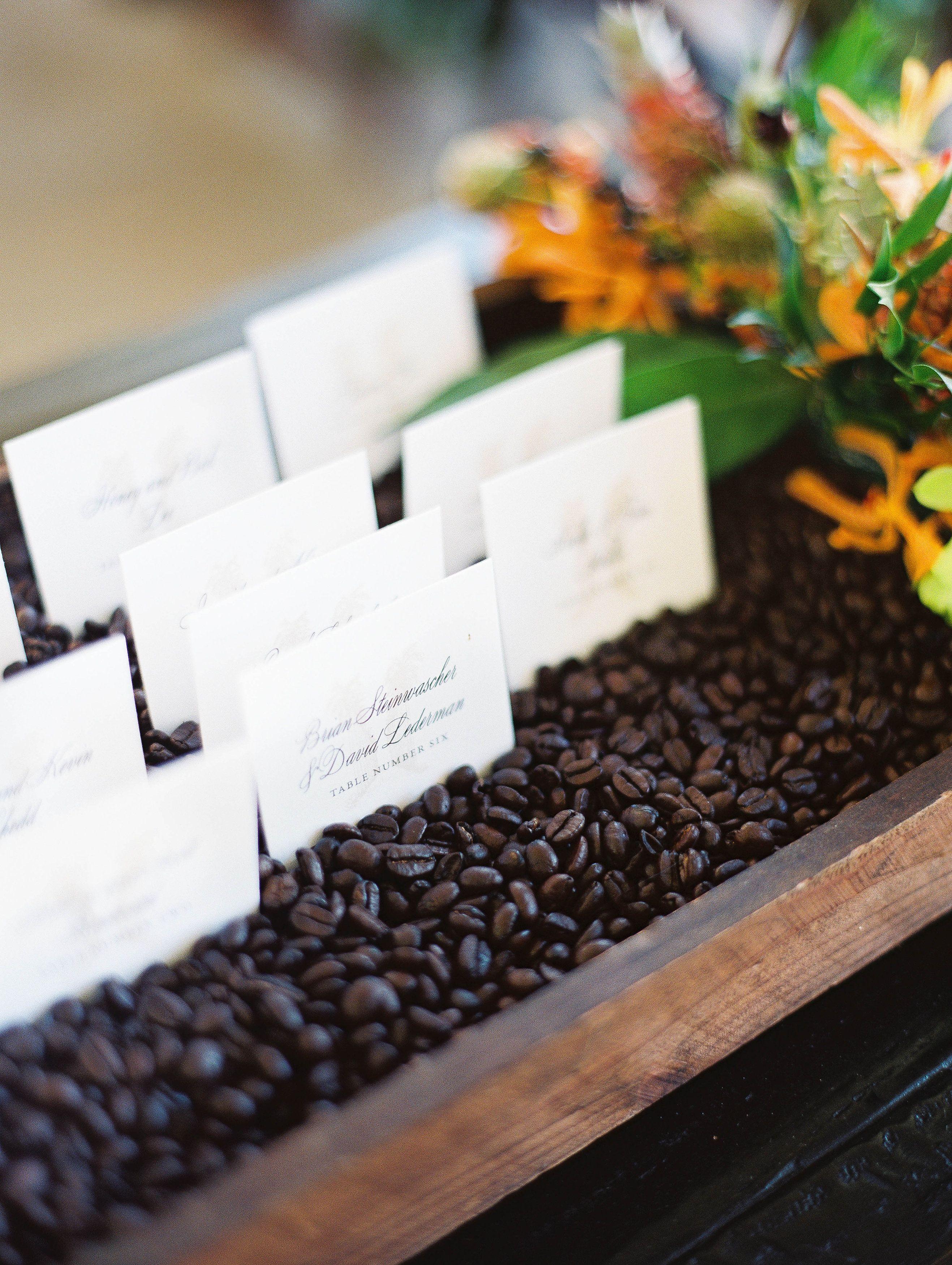 Escort Cards in Coffee Bean Display | Wedding Crafting | Pinterest ...