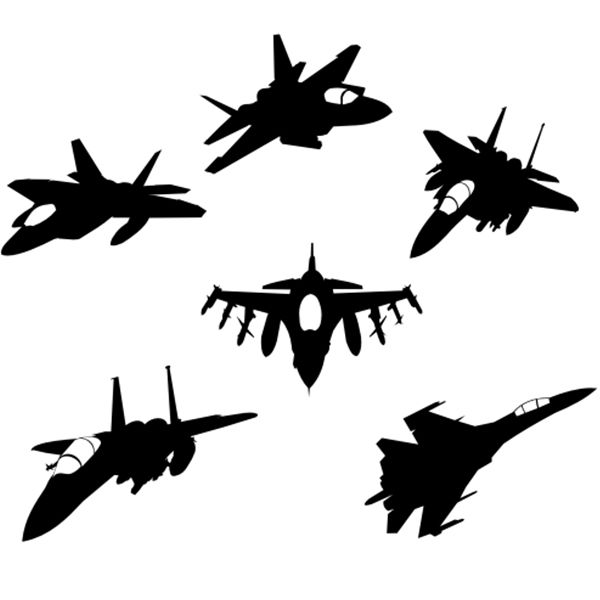 Free Download Jet Fighter Silhouettes Vectors Plane Tattoo Fighter Tattoo Military Graphics