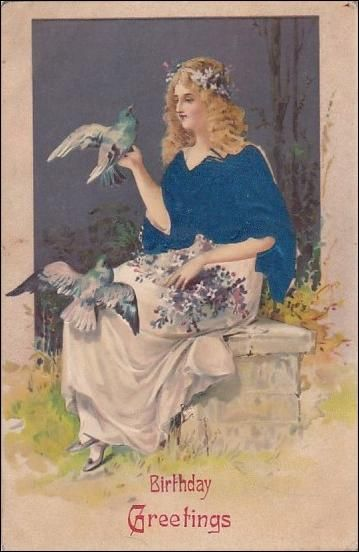 Birthday greetings beautiful lady with doves adorable birthday find birthday greetings beautiful lady with doves in postcards greetings birth birthdays category on playles m4hsunfo