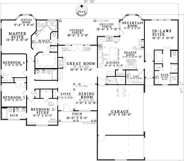 3 Bedroom Addition Floor Plan: Plan W59679ND: Open Living With In-Law Suite