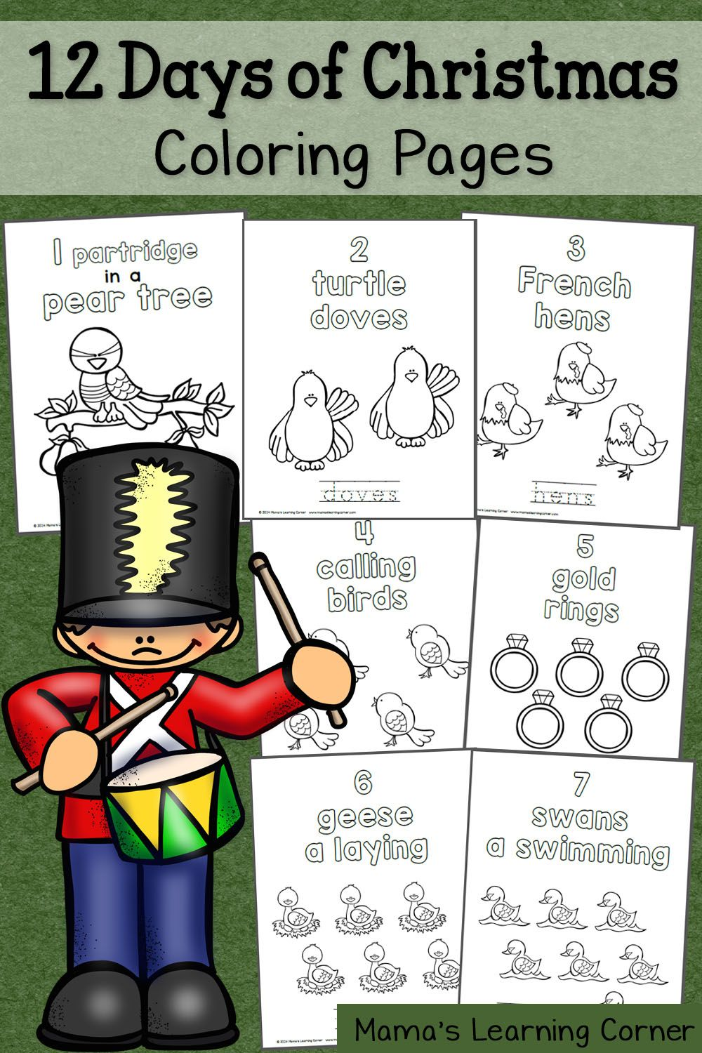 12 Days of Christmas Coloring Pages | Coloring books, School and ...