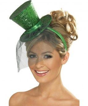 Minisombrero de copa verde con lentejuelas y pequeño velo  8e9f246c5cc