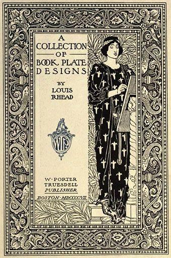 Vintage book plate design by Louis Rhead (1857–1926).