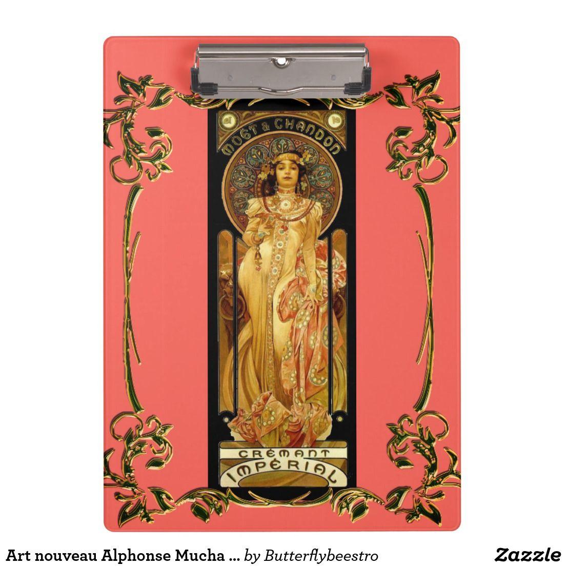 Art Nouveau Alphonse Mucha Woman Champagne Label Clipboard Zazzle Com Alphonse Mucha Art Nouveau Art