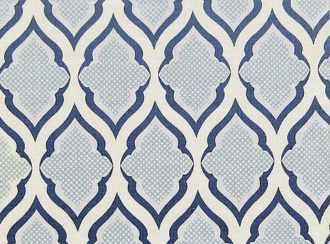 Ravenna Linen Fabric Ivory Printed With Large Trefoil Design In Indigo