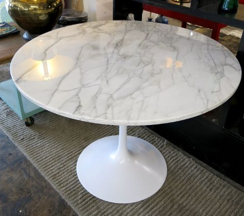 Vintage Newly Polished 42 Marble Top On 1960s Burke Tulip Base