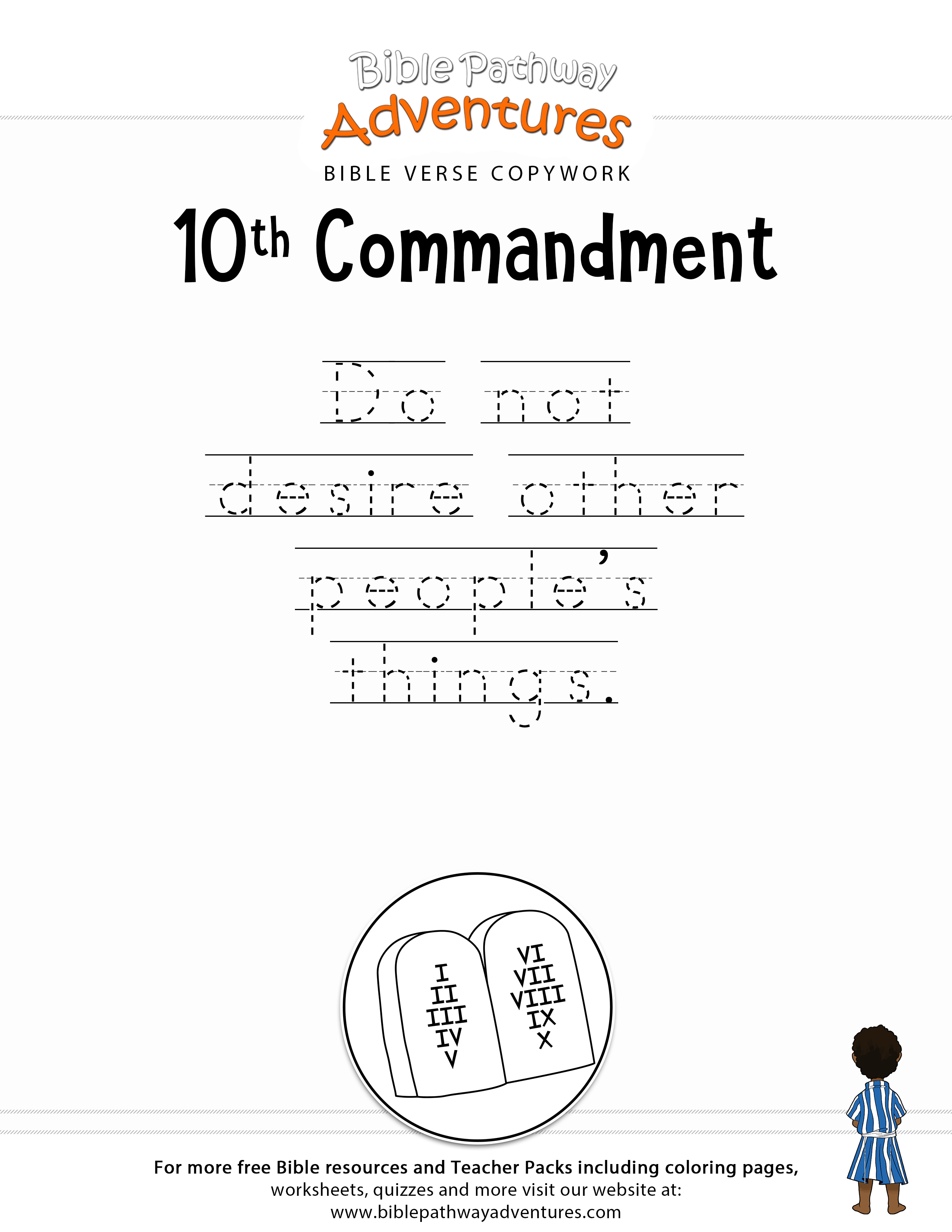 10th Commandment Copywork