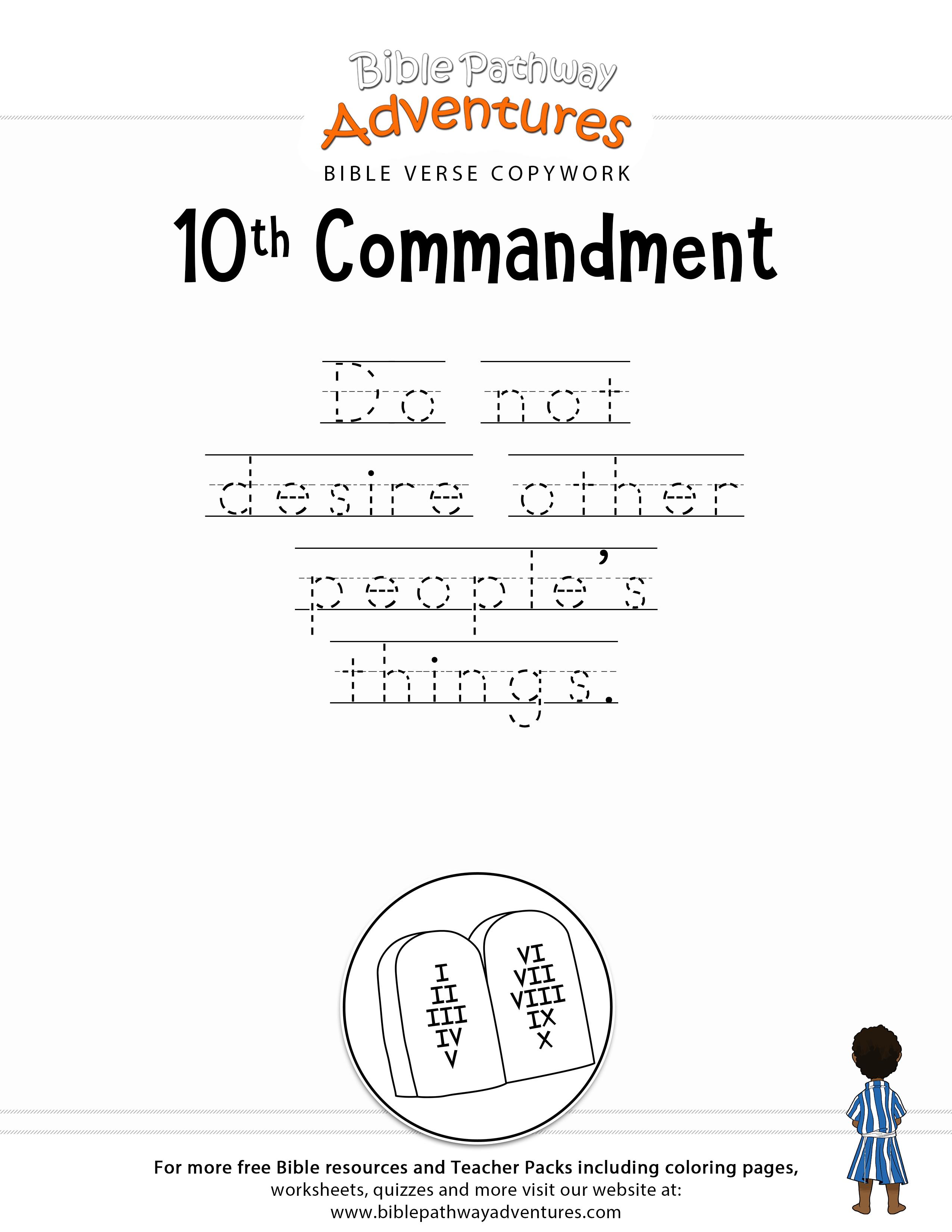 10th Commandment Copywork