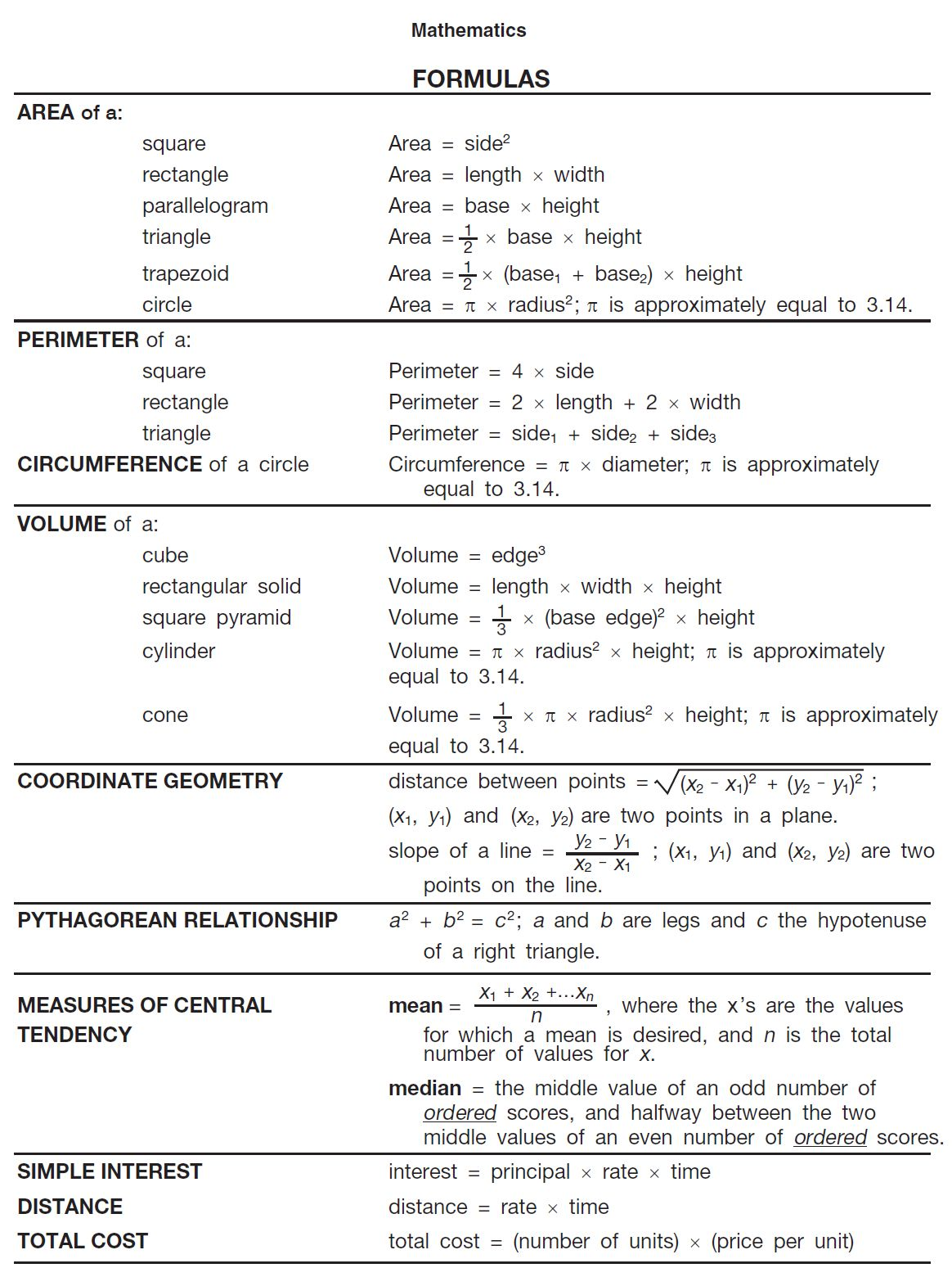 Basic math formulas | Student Stuff | Pinterest | Math formulas ...