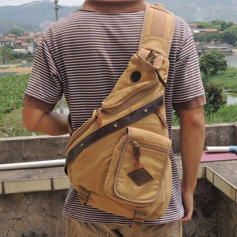 Details about Men Travel Satchel Sling Bag Retro Chest