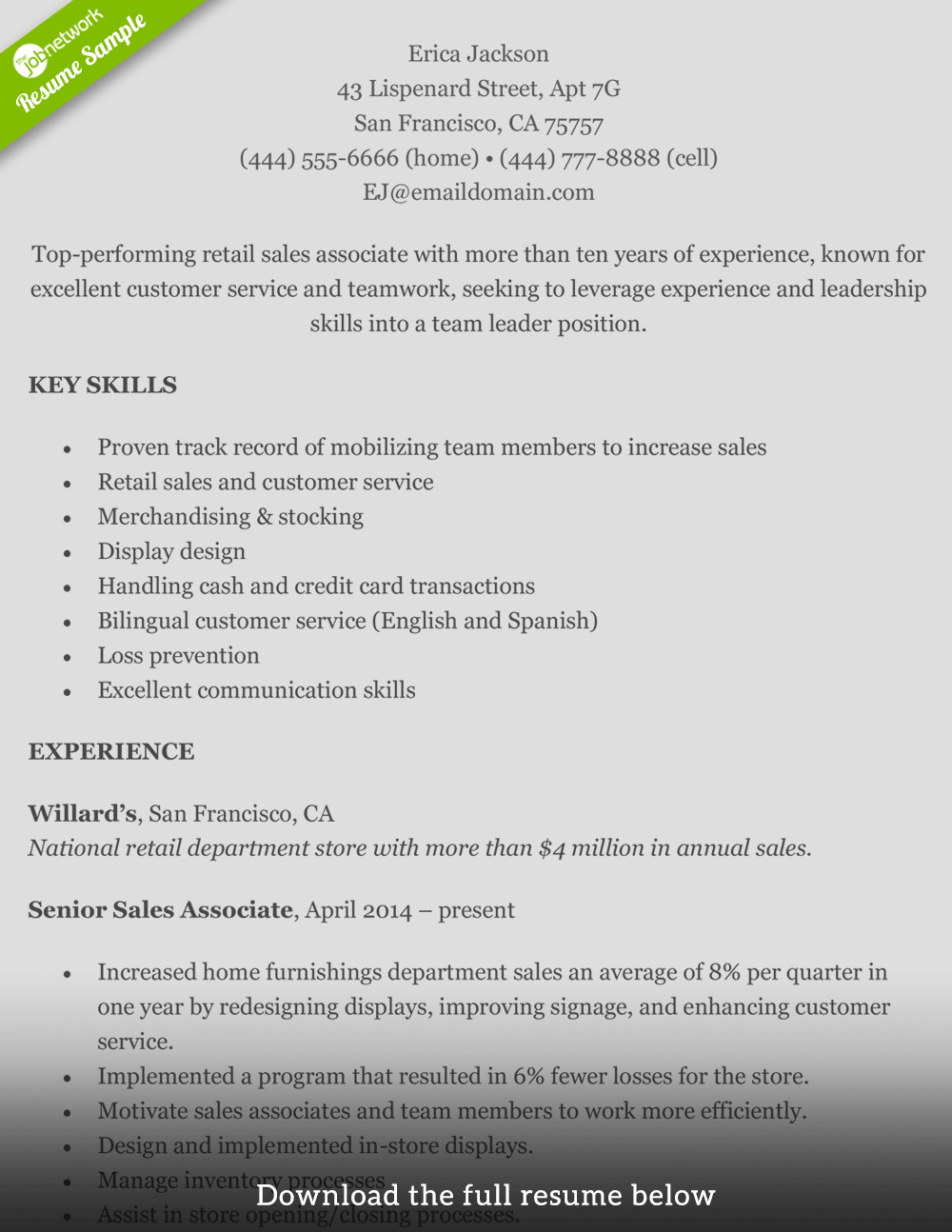 How To Write A Perfect Retail Resume Examples Included Resume Summary Examples Resume Examples Good Resume Examples