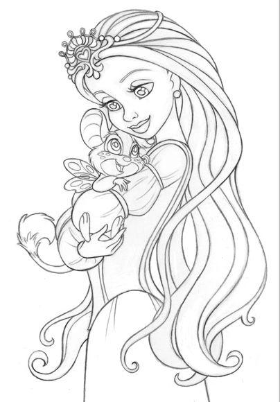 Girl With Animal Dibujos Colorear Princesas Dibujos Para Colorear