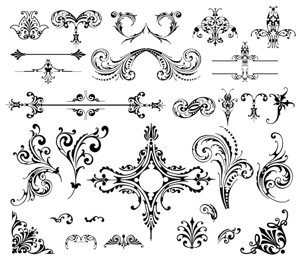 Roundup Of Free Vintage Ornament Floral Vectors Vintage Ornaments Hand Lettering Design Elements
