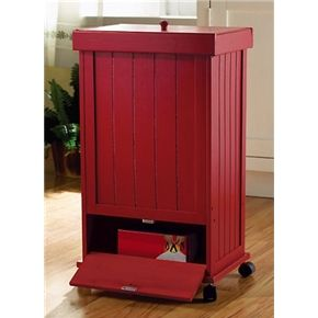 Country Barn Red Wooden Rolling Trash Bin Garbage Can Good