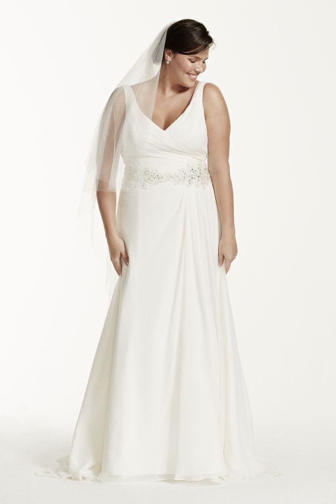 Extra Length Chiffon Tank Plus Size Wedding Dress with Beaded Waist - Ivory, 26W