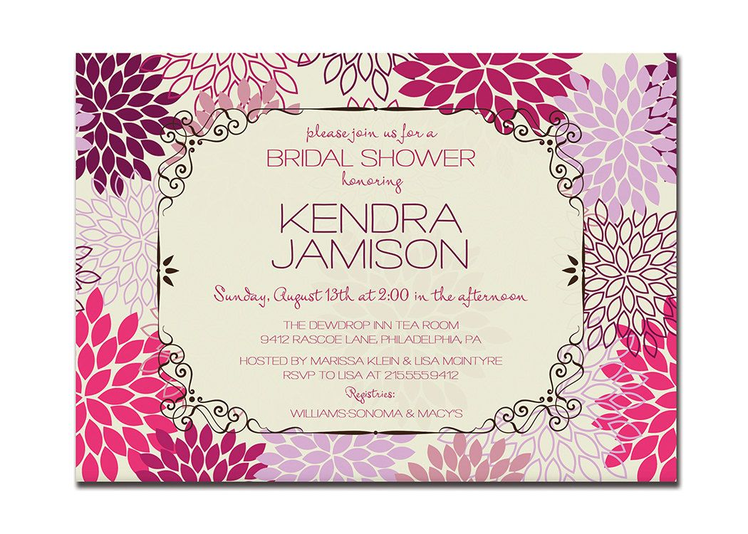 Modern Bridal Shower Invitation Floral Blooms Bridal Wedding ...
