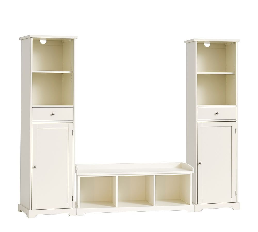 Samantha 3 piece bench tower entryway set white at pottery barn furniture modular systems