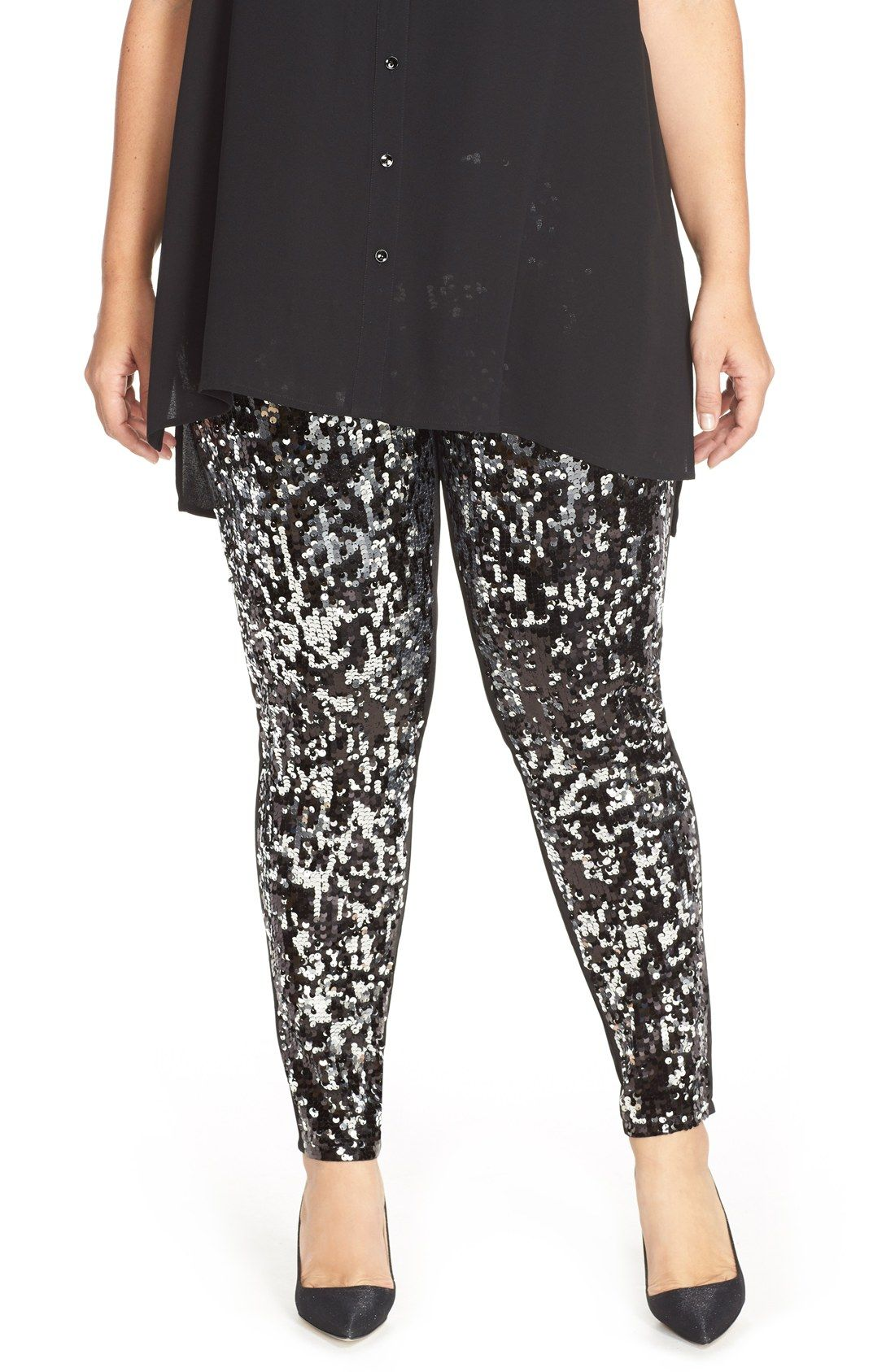 fda4fc963ff28 Nordstrom Sequin Front Leggings (Plus Size) | New Years Eve ...