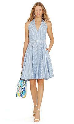 Striped Silk Halter Dress - Polo Ralph Lauren Short - RalphLauren.com