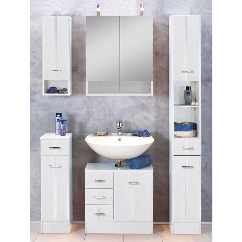 Badezimmerschrank Mit Waschekippe Marlin Gunstige Spiegelschranke Mit Licht Badmobel Holz Mit Aufsatzwas Freistehende Schranke Hochschrank Badezimmer Mobel