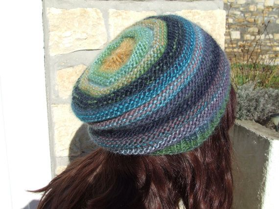 Slouchy multi colour crochet winter hat with fleece lining