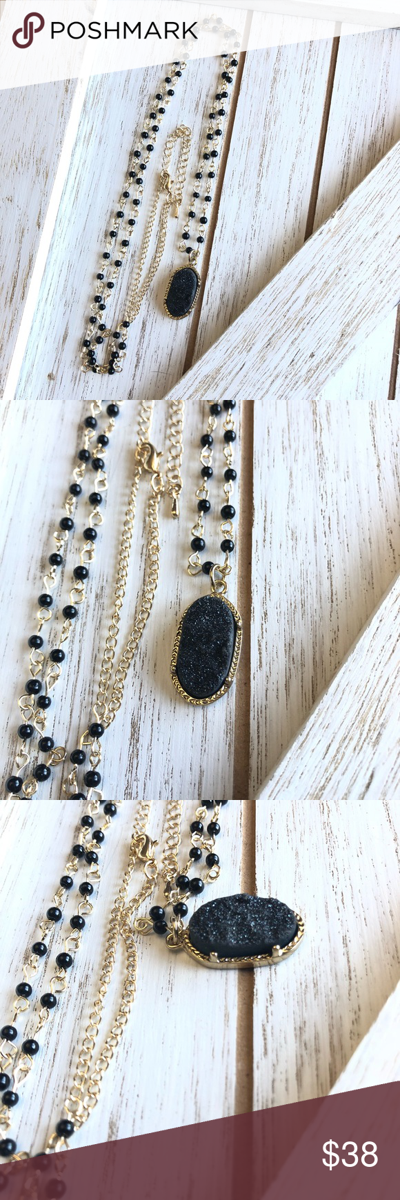 How To Include Taxidermy Into Trendy Home Decor: Natural Black Agate And Druzy Stone Necklace Beautiful Natural Black Druzy Stone Necklace