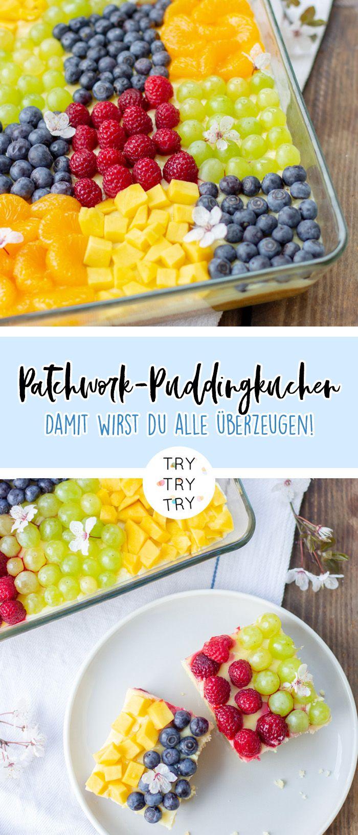 Patchwork-Puddingkuchen mit Früchten #tortegeburtstag