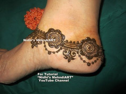 Mehndi Henna Kit Tutorial : Youtube beautiful anklet pattern jewelry ornament inspired henna