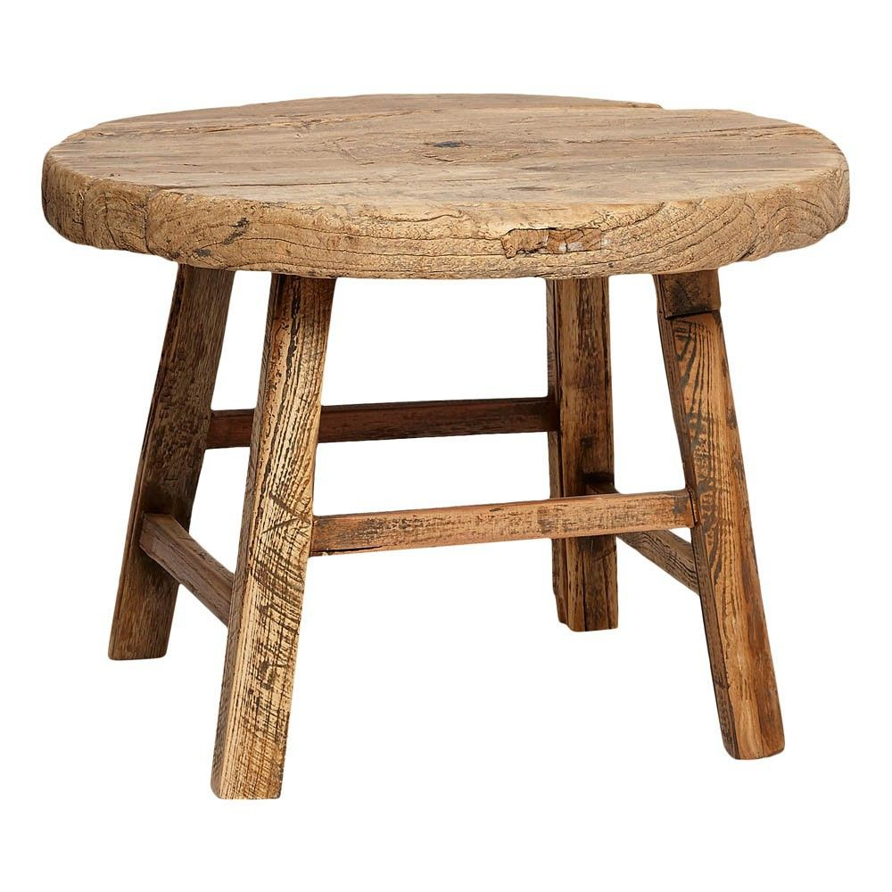 Hubsch Table Ronde En Bois D Orme Naturel With Images Rustic Stools Furniture Wood Rounds