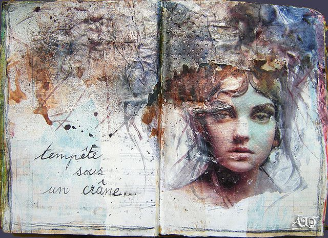 """By Anne LeToux/Bulles dorées (golden bubbles) on Flickr. French text says """"tempest in a skull."""""""