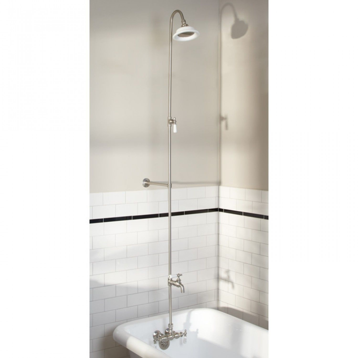 Wall Shower Set With Exposed Pipe Riser and Tub Filler | Shower set ...