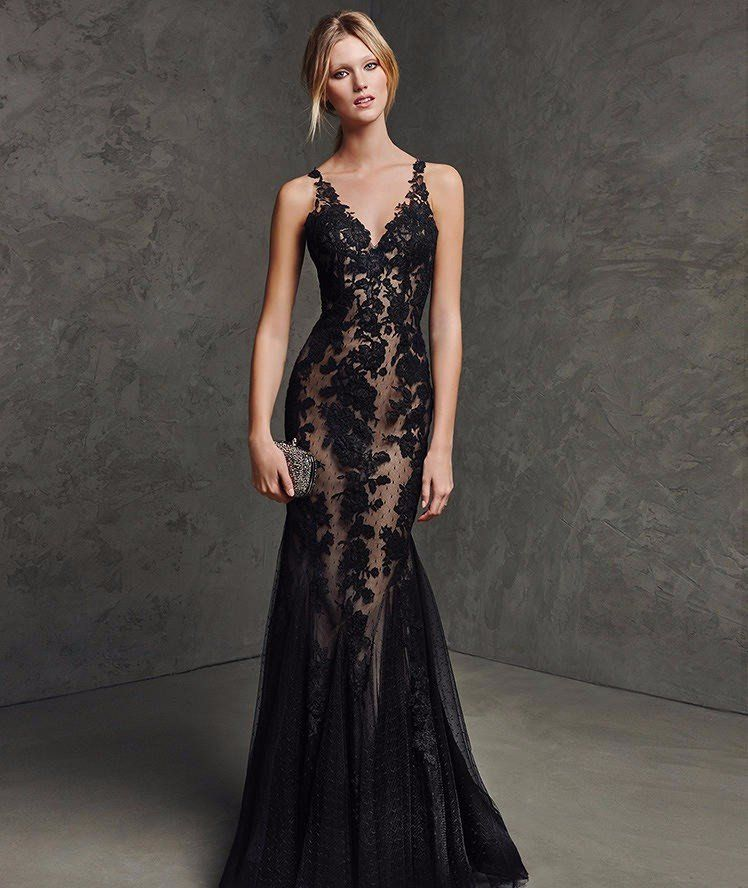 Stunningly sexy mermaid style gown. Gorgeous black lace over a nude shell  to give the illusion of something more…or something less. The dress has a  deep ... 7f364da4aad2